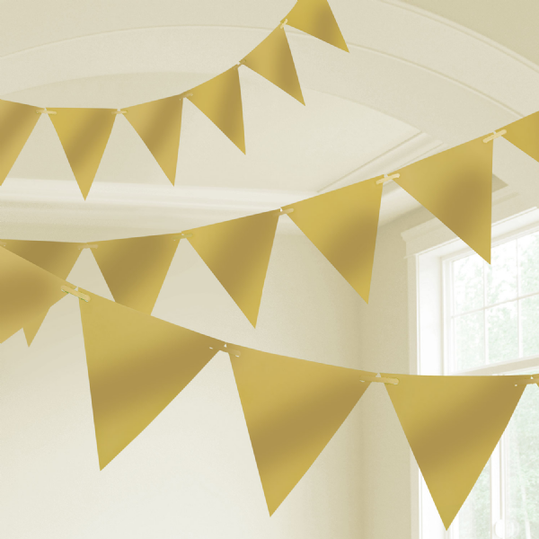 Gold Plastic Pennant Bunting 10m